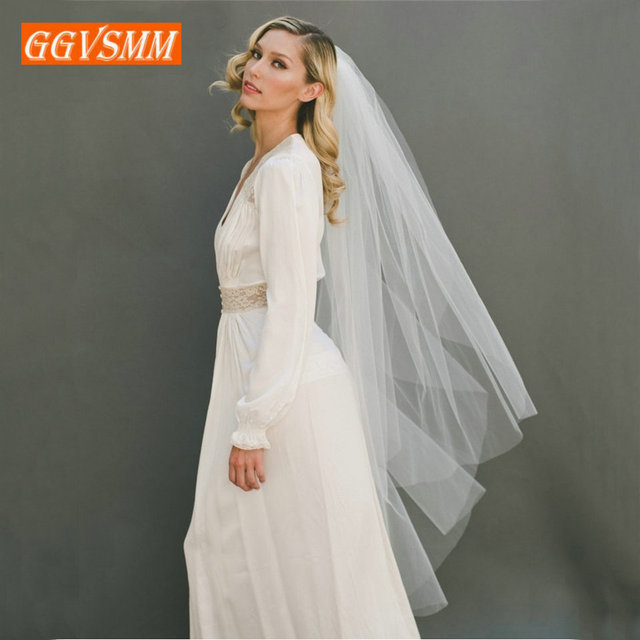 2020 Simple Women White Bridal Veils With Comb Two Layers Tulle Short 120cm Ivory Bride Veil Cut Edge Cheap Wedding Accessories 3