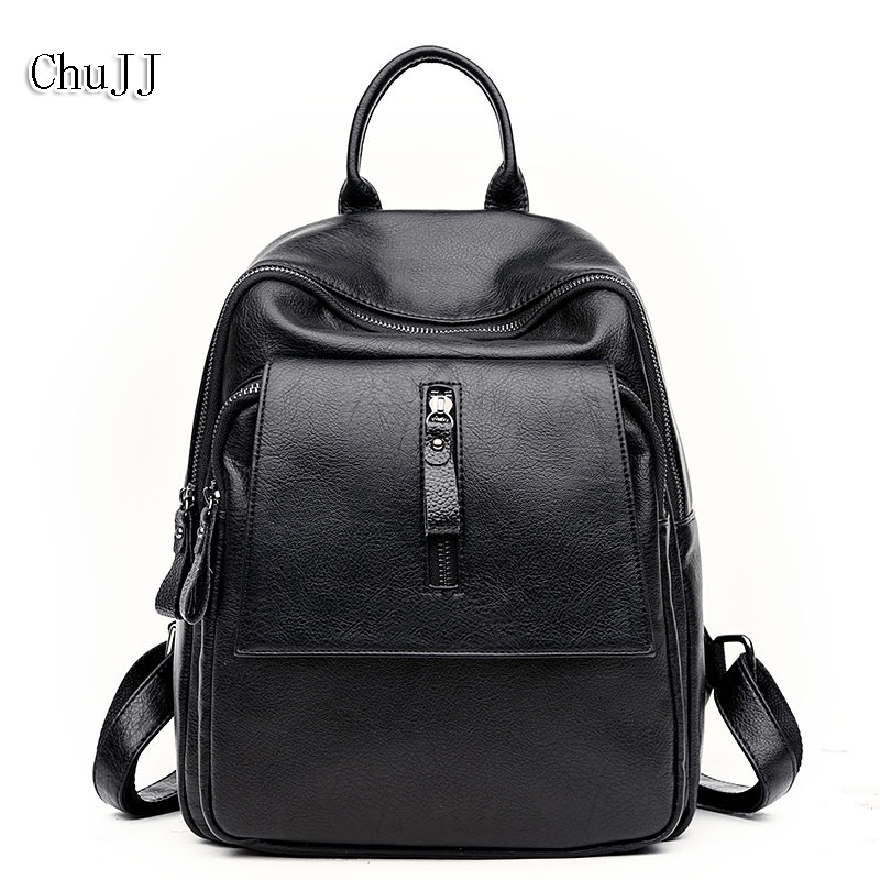 Women Backpack Leather School Bag Women Casual Preppy Style Simple Student Schoolbags For Teenage Girls Daily Daypacks Backpacks cloth shake new casual women backpack canvas school bags travel backpacks for teenage girls preppy style dots women bag set