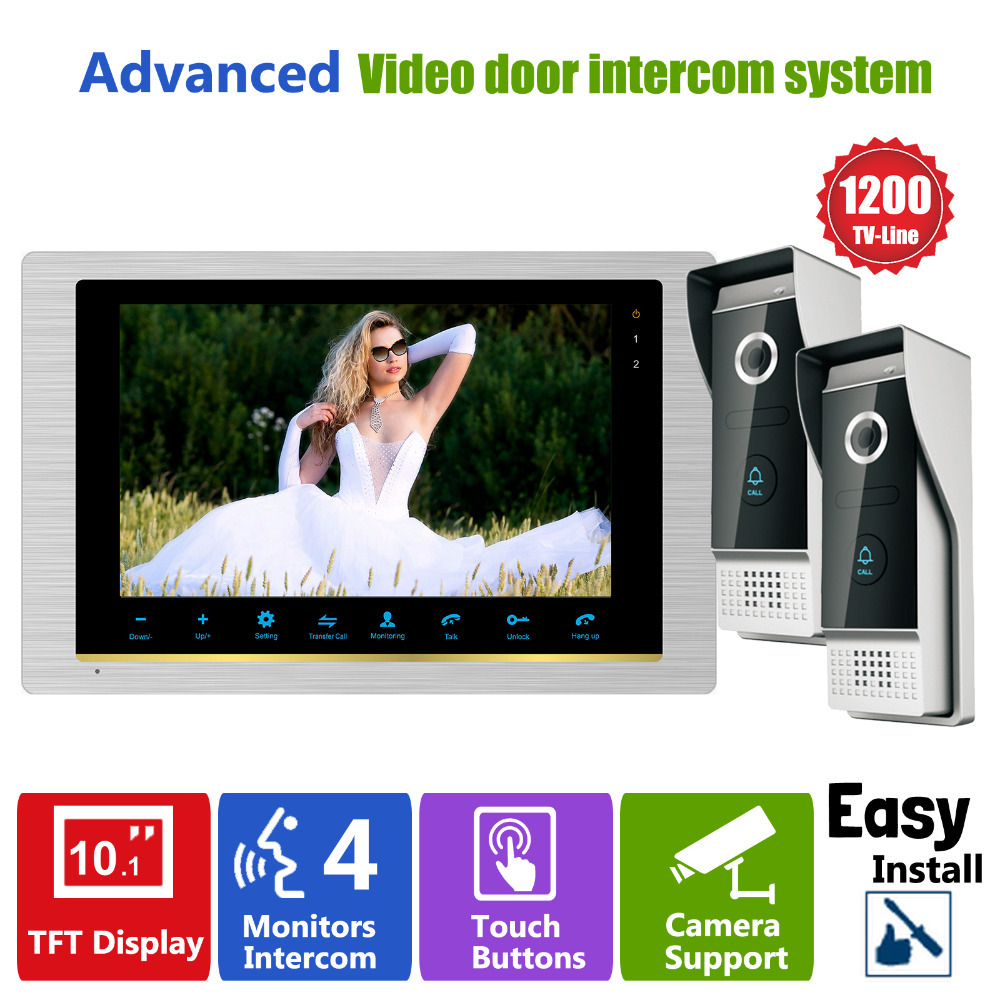 Homefong Video Intercom System Door Phone Doorbell Intercom Video Camera 2V1 2 Outdoor Station 1200TVL 1 Indoor Station цена