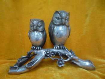 elegant Old silver Statue/ Sculpture----The owl mother and child,  best collection&adornment,free shipping