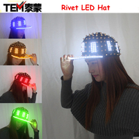 Unisex Punk Hedgehog Rock Rivet Cap Newest Unique Gold Silver Rivet LED Hat Fashion Snapback For