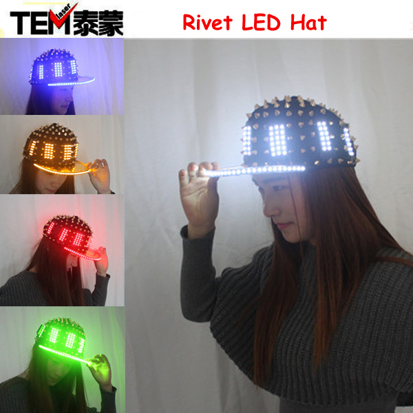 Unisex Punk Hedgehog Rock Rivet Cap Newest Unique Gold Silver Rivet LED Hat Fashion Snapback for Street Hip-hop Rivet man woman