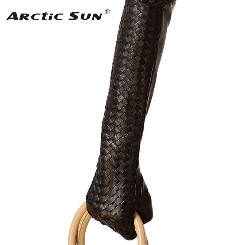2020 Sale 43cm Long Genuine Leather Women Gloves Solid Black Sheepskin Glove Elbow Winter Thermal Fashion Free Shipping L108NN