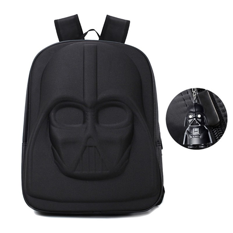front view of the darth vader star wars backpack plus darth vader keychain
