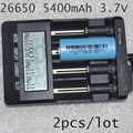 NEW 2PCS ICR 26650 rechargeable battery 3.7V 5400mah lithium ion li-ion cell for led flashlight torch and battery pack