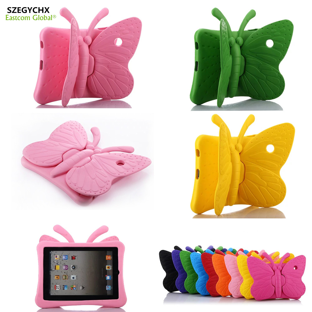SZEGYCHX Silica gel Shockproof Case For iPad 2 3 4 Cartoon EVE 3D Butterfly Smart Film Stand Table Cover Case Kids Safe A1395