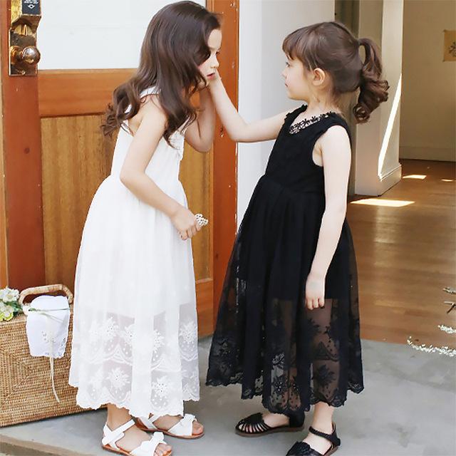 Edad 4-14 Grandes niñas vestidos de verano 2016 de la nueva manera de Encaje princesa sin mangas maxi largo vestidos de niña para niños blanco y negro
