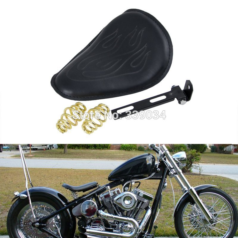 FLAME PATTERN BLACK THIN SMALL SOLO SEAT For HARLEY TRIUMPH XS650 BOBBER CHOPPER