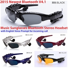 New Voice Prompt Wireless Sport Sunglasses Bluetooth 4.1 Headset Headphone with Microphone Mic For iPhone SAMSUNG HTC LG Xiaomi