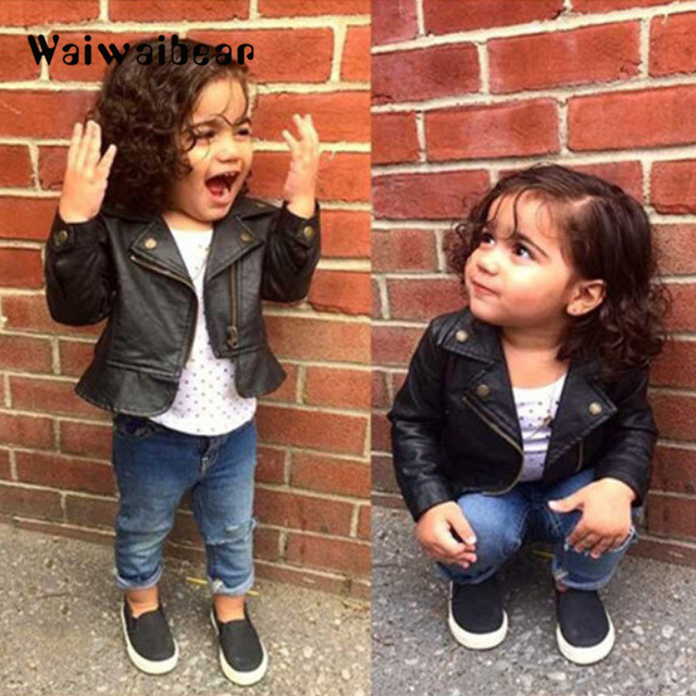 Waiwaibear puレザージャケットのウインドブレーカーベビージャケットショートコート服幼児春 & 秋子供のコート