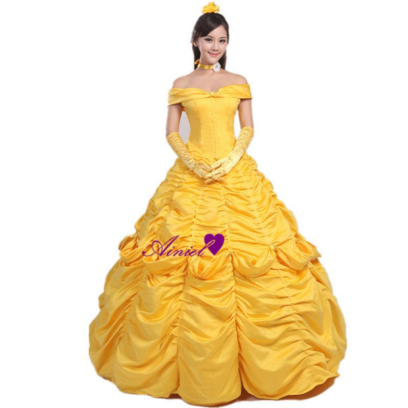 Ainiel Beauty and the Beast Princess Belle Cosplay Costume Dress Long Yellow Dress for Women
