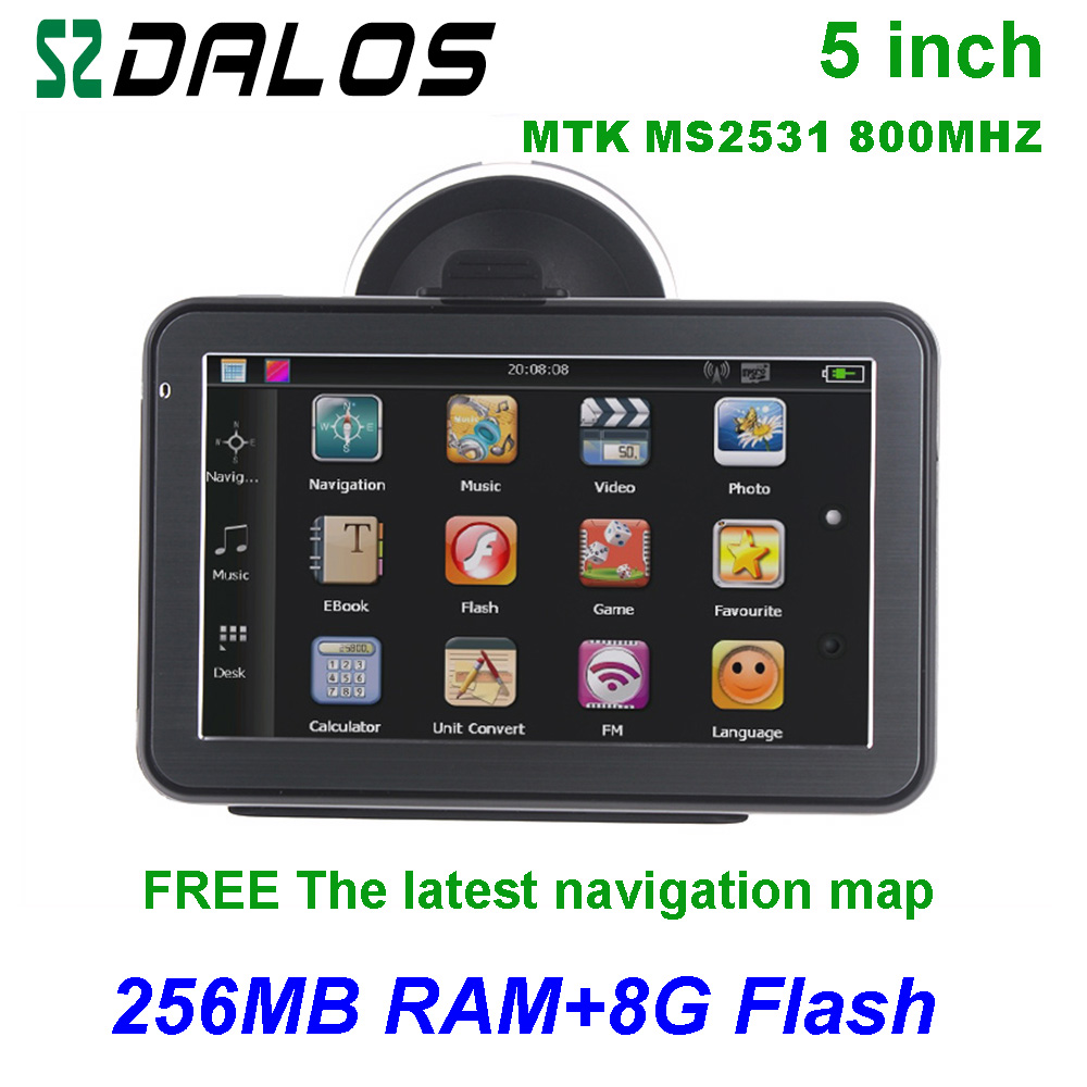 High quality 5 inch gps navigation with 8G 256 ram free map for all cars