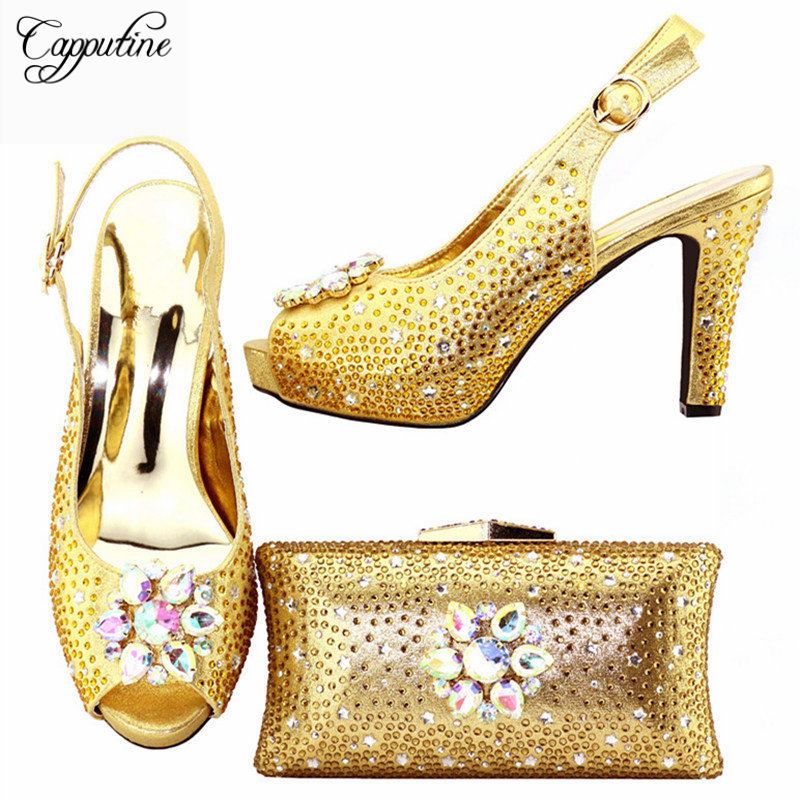 Capputine Hot Selling Unique Shoes And Bag Set Italian Elegant Woman High Heels Shoes And Matching Bag Set For Party Dress K093 capputine hot selling african woman shoes and bags set italian style high heels shoes and bag sets for dress size 37 42 bl765c
