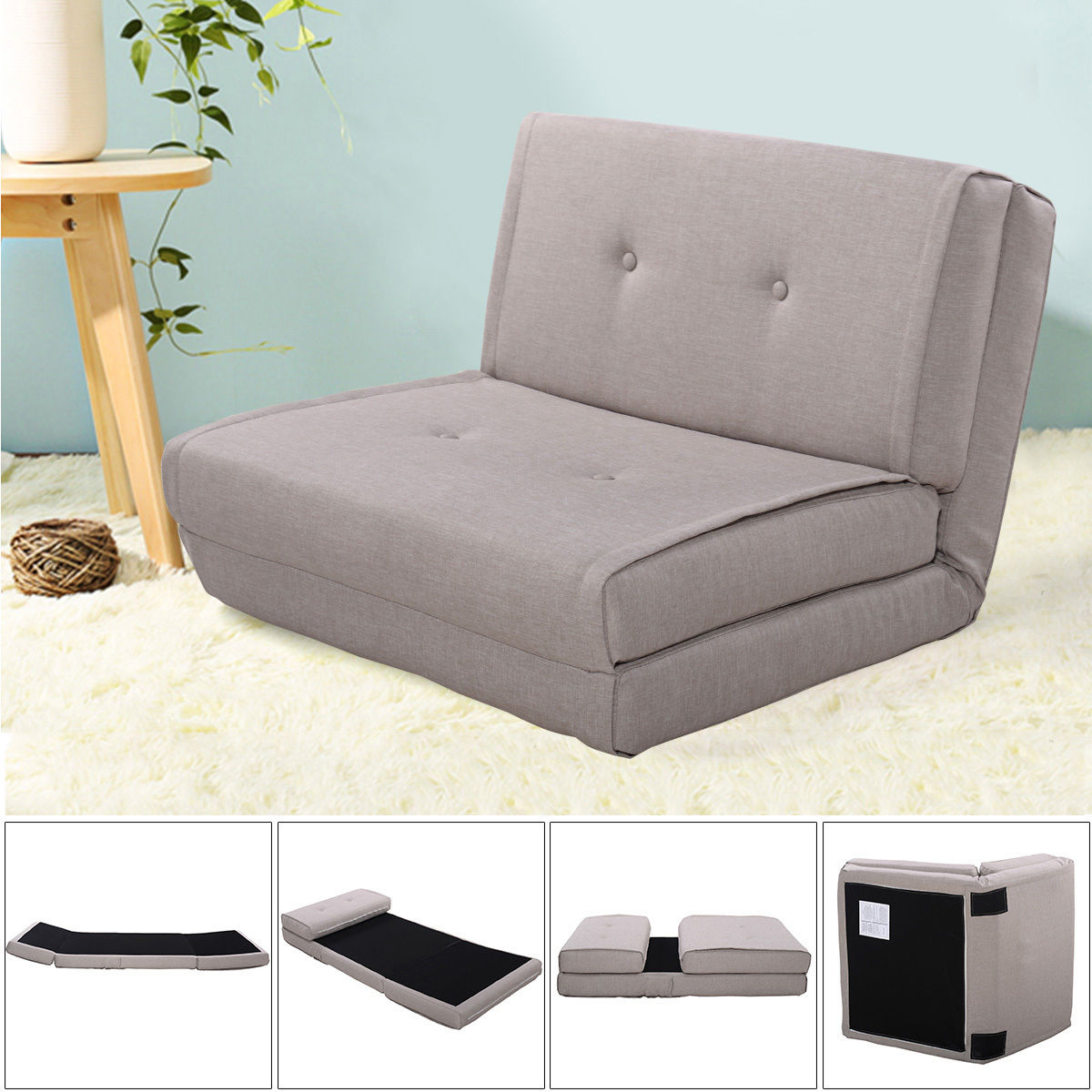 Giantex Fold Down Sofa Bed Living Room Flip Out Lounger Convertible Sleeper Bed Couch Game Modern Sofa Chairs HW52681LTGR цены