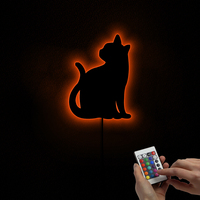 1Piece Cute Cat Wall Lamp Little Kitten LED Lighted Wall Sign Handmade Cat Mirror with LED Backlight Color Change LED Lights