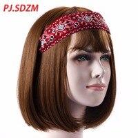 PJ.SDZM Embroidery Fabric Ethnic Style Headwair Unique Design Retro Bohemia Wide Hair Accessoriesr Girls Women Headband