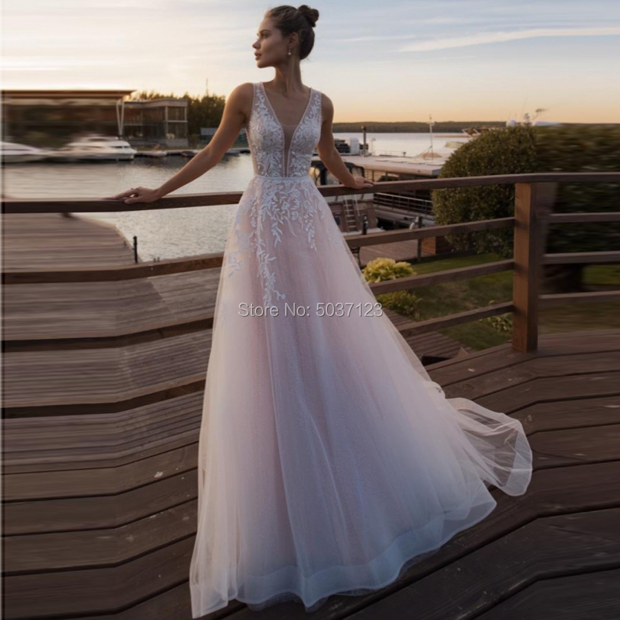 A Line Wedding Dresses Tulle Lace Appliques Sleeveless Deep V Neck Bridal Wedding Gown Vestido De Noiva With Court Train
