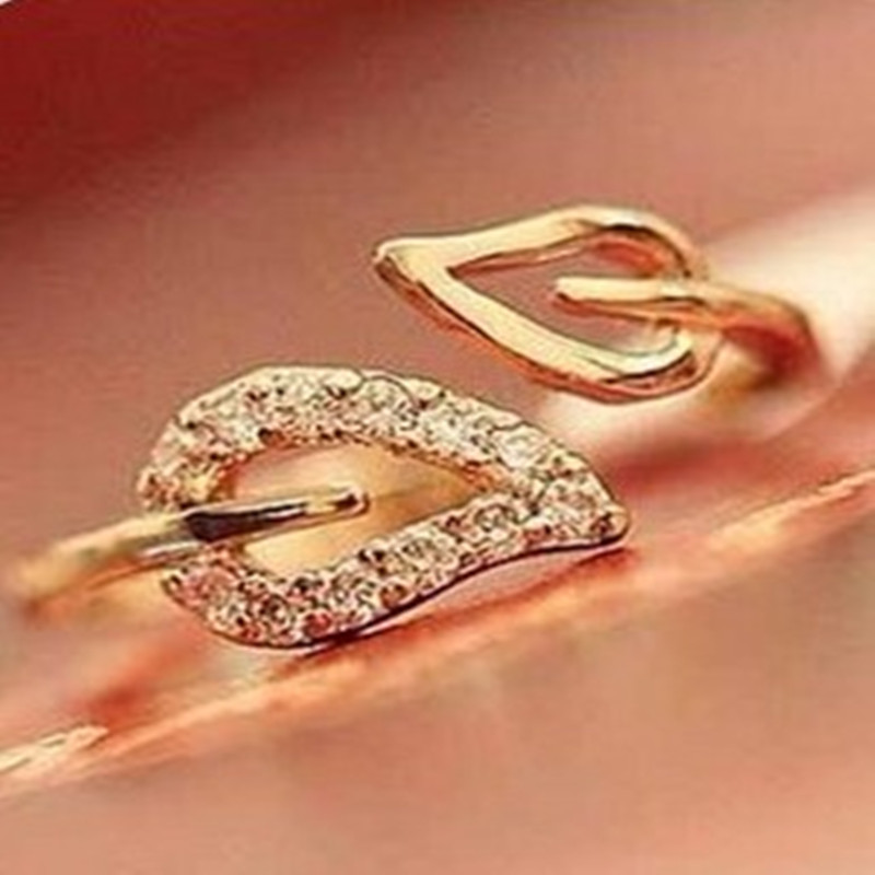 2017 new anti-drilling leaves retro Korean female couple rings jewelry influx of people free shipping Cheap-gold-ring ...