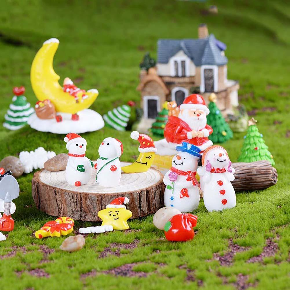 Hot 3 Pcs Mini Christmas Santa Claus Snowman Ornaments Home Garden Decoration Gift