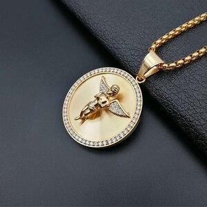 Image 4 - Ожерелье с подвеской в стиле хип хоп с изображением крыльев Ангела для женщин и мужчин, Золотое круглое ожерелье из нержавеющей стали, украшения