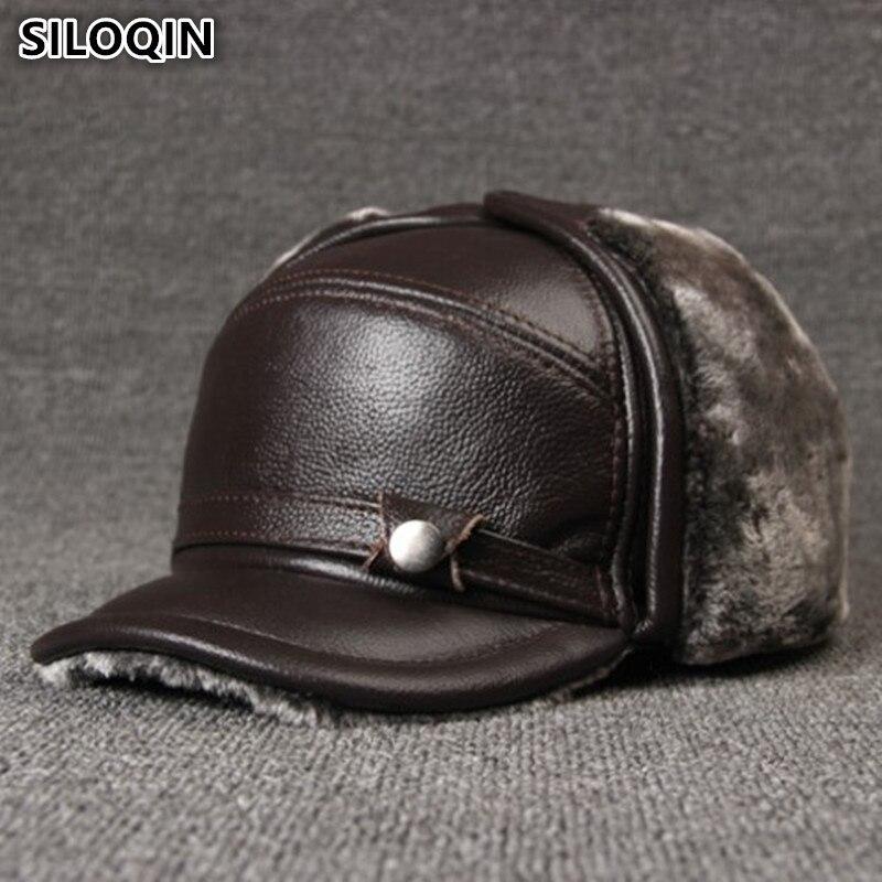 SILOQIN Genuine Leather Cap Men s Winter Hats Plus Velvet Thick Fur Warm Cowhide Leather Bomber