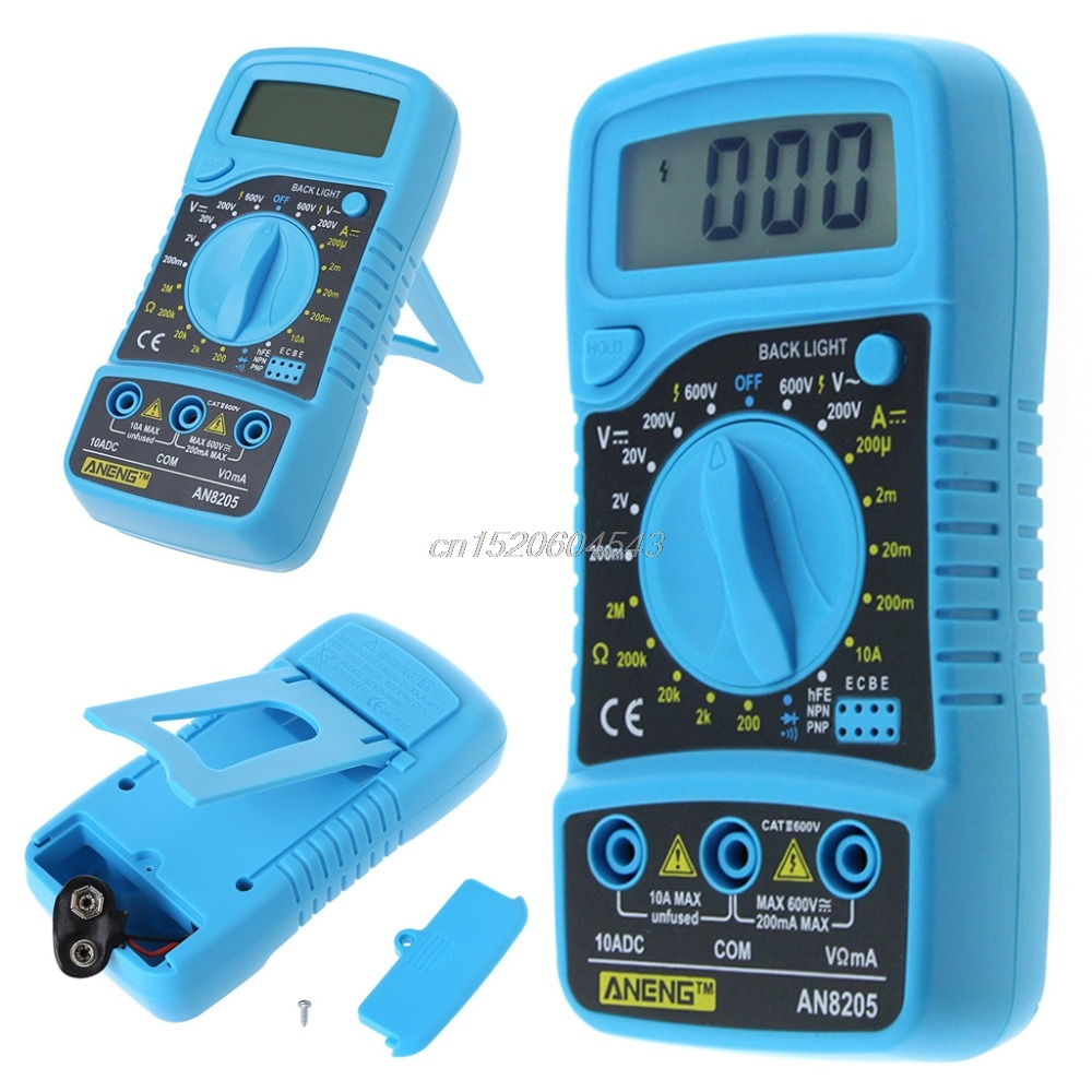 AN8205 Digital LCD Multimeter Voltmeter Ammeter AC/DC/OHM Volt Current Tester Tools R08 Drop ship