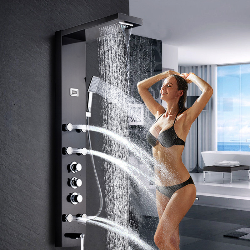 цена на Brushed Nickel Stainless Steel Thermostatic Waterfall Rain Shower Panel W/ Massage System Tub Spout W/ Handshower Shower Column