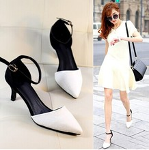 Pointed Toe Women Sandals 2015 Fashion Priness Medium Heel Sandals Ladies Vintage Dress Shoes Pumps sapatos feminino