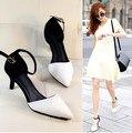 Pontas Do Dedo Do Pé Das Sandálias Das Mulheres 2015 Moda Priness Sandálias Do Vintage Das Senhoras Vestido Sapatos de Salto Médio Bombas sapatos feminino