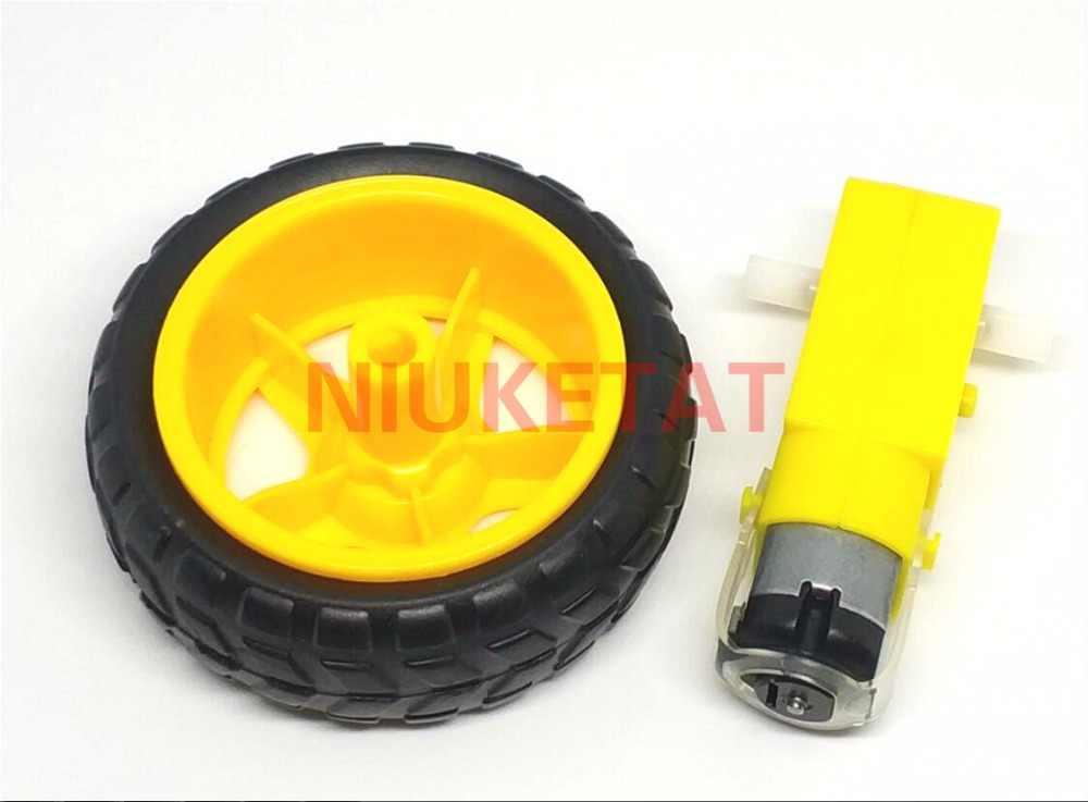 4 pçs/lote = 2pcs TT motor + 2pcs DC3V-6V 65mm roda Do Motor 130 motor Da Engrenagem com a roda para Arduino Smart Car Robot TT Motor 3 V-6 V