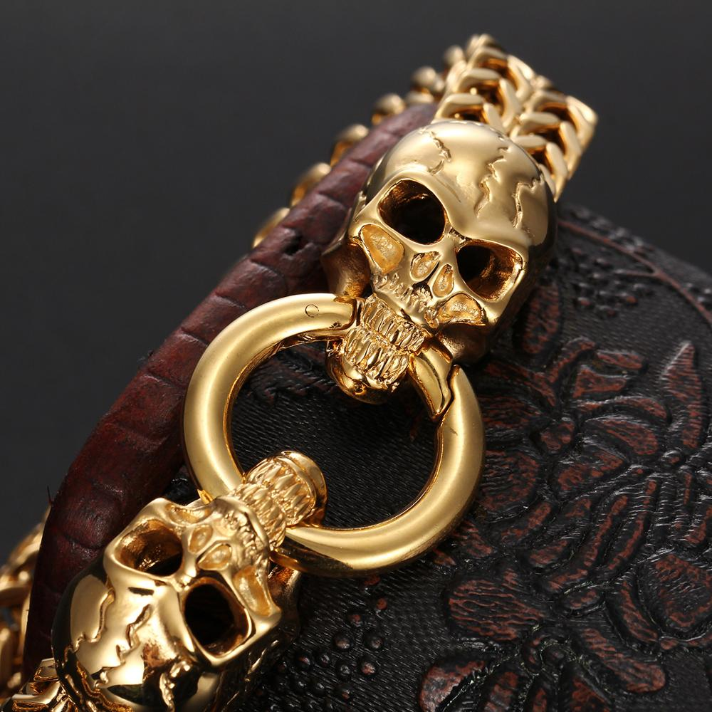 12mm Two Style Top Hot Sale Stainless Steel Figaro Rolo Chain Skull Head Clasp Men 39 s Cuff Jewelry Silver Gold Color Bracelet in Chain amp Link Bracelets from Jewelry amp Accessories