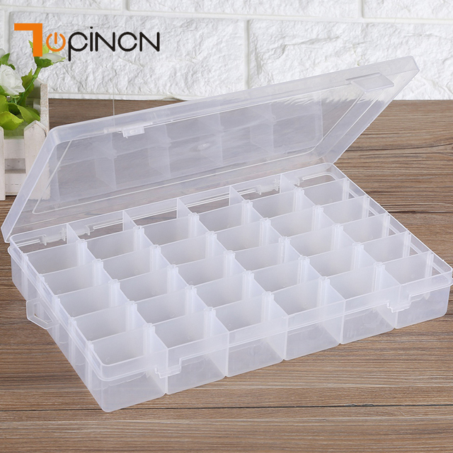36 Grids Clear Plastic Storage Box With Adjustable Dividers