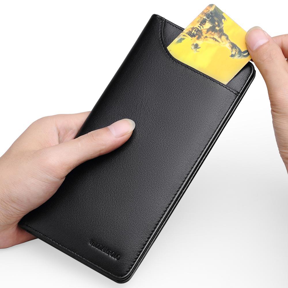 WilliamPOLO wallet mens long leather wallet Slim Clutch Bag luxury Men Wallet Genuine Leather mens wallet leather clutch bag men