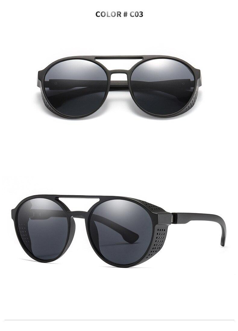 Men's sunglasses plastic + metal round frame glasses UV400 fashion ladies sunglasses classic brand driving night vision goggles (3)