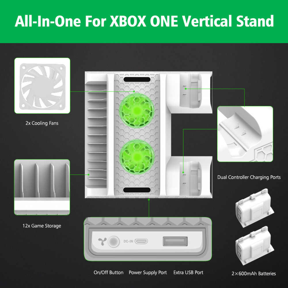 small resolution of  oivo dual controller charger for xbox one cooling vertical stand games storage charging docking station for