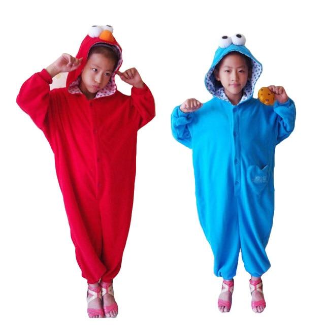 children boy girls sesame street costume onesies red elmo cookie monster cosplay pajamas pyjamas kids sleepwear winter halloween
