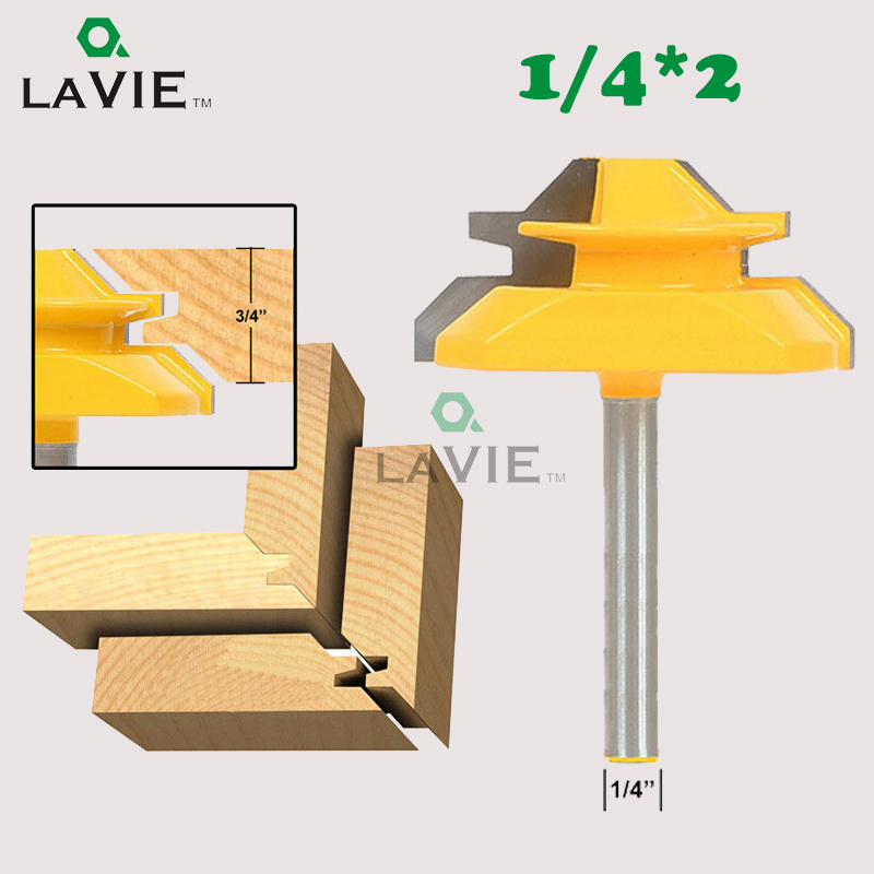 LA VIE 1/4 Shank Medium Lock Milter Router Bit 45 Degree 3/4 Stock Tenon Cutter For Woodworking Tools Milling Bits MC01014 1 2 5 8 round nose bit for wood slotting milling cutters woodworking router bits