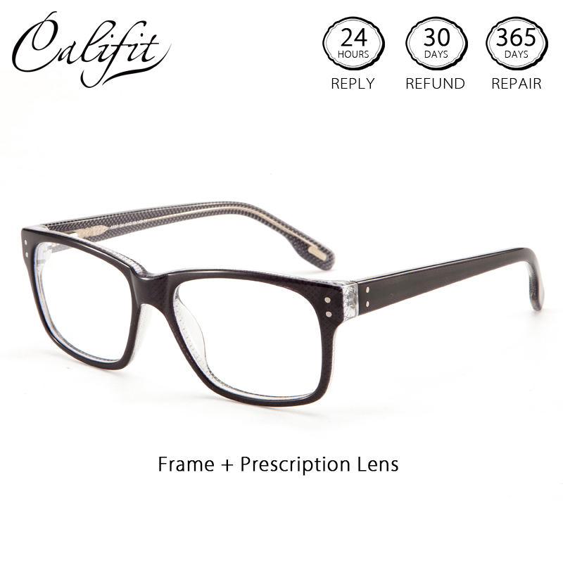 CALIFIT Retro Rivet Rectangle Optical Glasses Men Clear Lens Corrective Photochromic Glasses Diopter Spectacles Men Original
