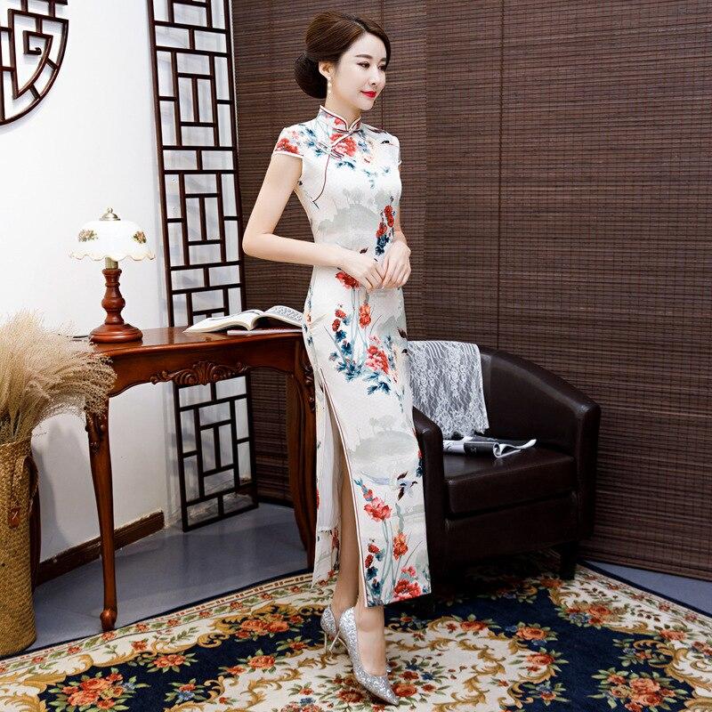 SHENG COCO Traditional Chinese Cheongsam Dresses Novelty Silk Satin White Printing Long Cheongsams Modern Qi Pao Reception Dress