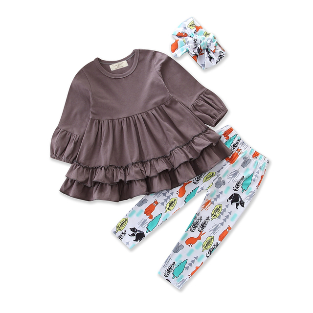 98d9e168173d Baby Girls Clothes Set Brown T-shirt Cartoon animal long Pants headband  3PCS Cotton Outfits Kids Sport Clothing Suit Size 1-5Y