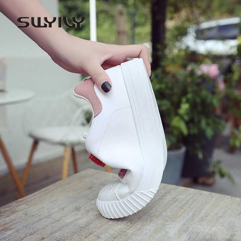 SWYIVY สีขาวรองเท้าผ้าใบสำหรับรองเท้าผู้หญิง 2019 ฤดูใบไม้ผลิหญิง casaul รองเท้าสายรุ้ง hool loop รองเท้าผ้าใบแบนลื่น