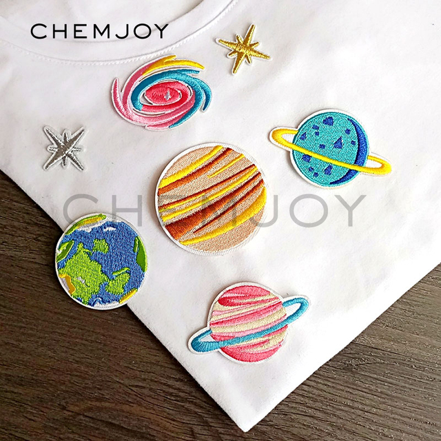 Embroidered Patches Iron on Planets Stars Galaxy Appliques Cute Astronomy Patch Clothes Badges Stickers for Backpack Set of 7
