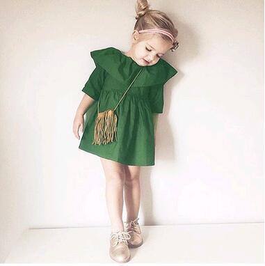 Оборками Детские Grils Платье 2016 Новое Лето модные Бренды Платья Принцесс Детская Одежда Дизайн Новорожденных Девочек Одеваться