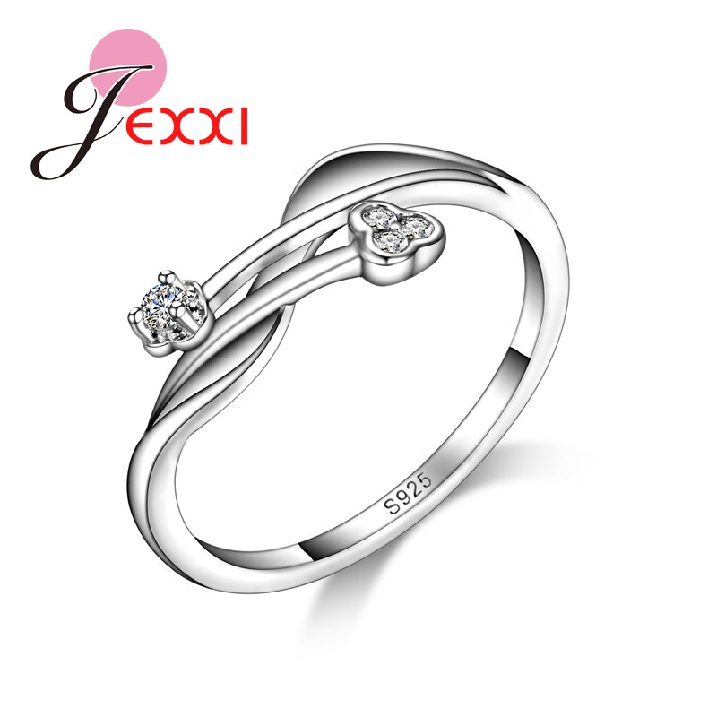 JEXXI Women Party Finger Accessories 925 Sterling Silver Girl AAA Austrian Crystal Cross Design Rings Fashion Jewelry Lover Gift