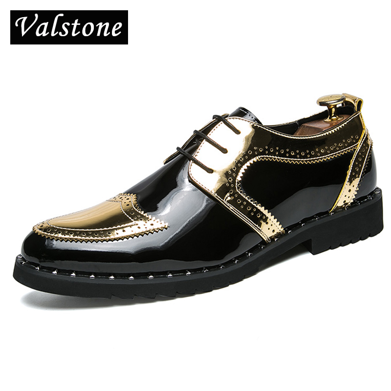 Valstone Casual Leather Shoes Men 2018 superstar Brogues male leather sneakers Quality gold Mocassins loafers Men