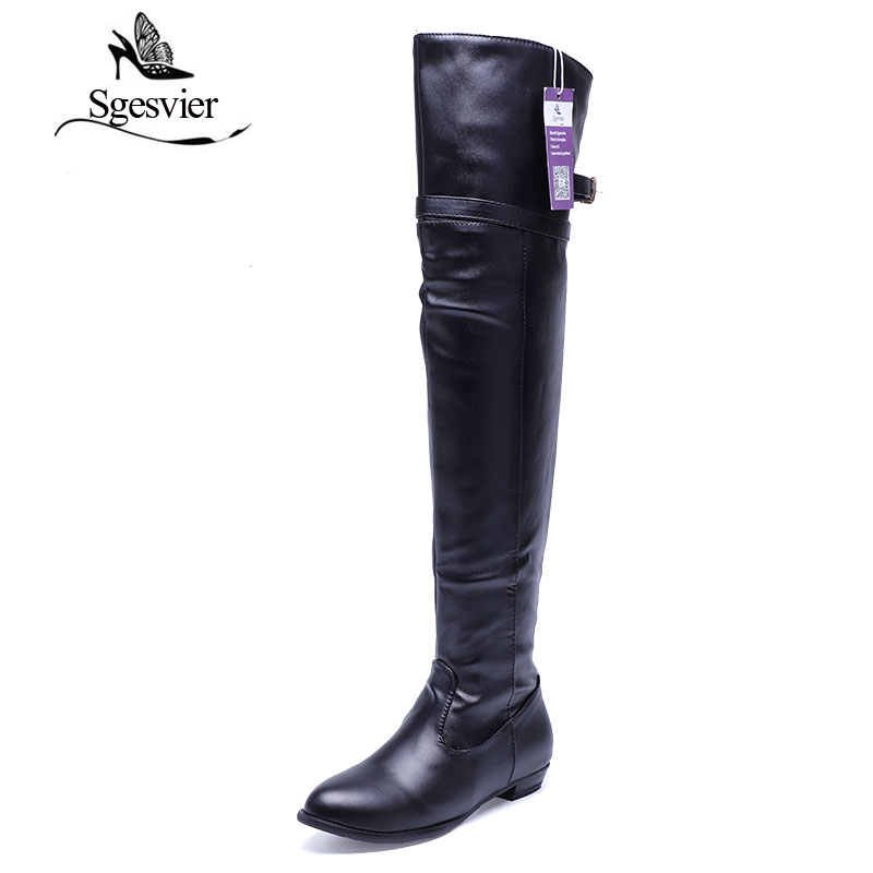 SGESVIER Women Boots 2017 Winter New Fashion Casual Over-the-high Boots Round Toe Buckle Plus Size 34-45 Lady Shoes Woman OX100 sgesvier women boots snow boots 2017 winter platform heel casual knee high round toe buckle flat size 34 43 lady shoes ox098