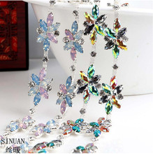 SINUAN Rhinestone Chain Belt Sew-On Crystal Resin Decorative Stones Tape Yard Acrylic Stones For Garments Crystal For Crafts