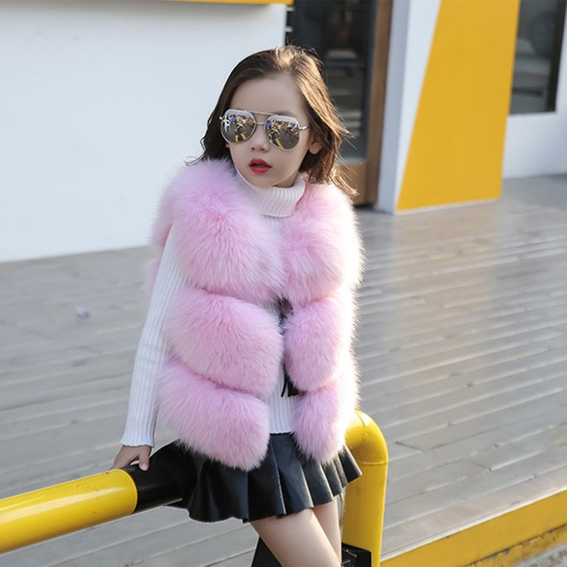 High Quality Children's Fur Vest Imitation Fox Fur Coat Girls Fall Winter New Short Section Vests Girl Waistcoat Baby Coat 2017 ein fall fur tessa