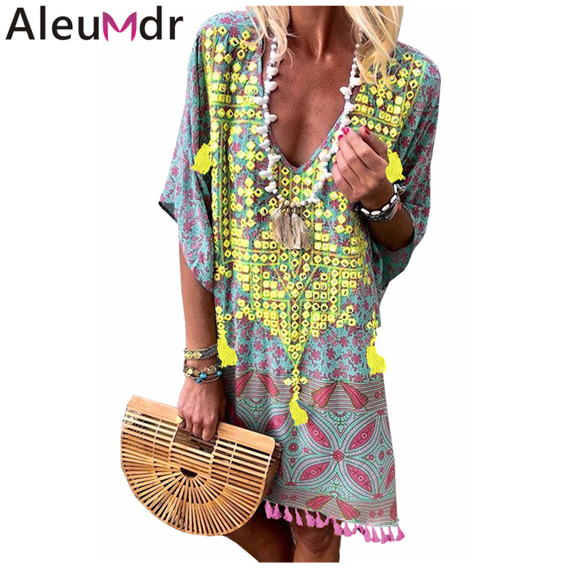 Aleumdr Women Beachwear Retro Multicolor Floral Tassel Printed Casual Loose Summer Tunic Dress Bikini Cover up Pareo LC420152-in Cover-Ups from Sports & Entertainment on Aliexpress.com | Alibaba Group
