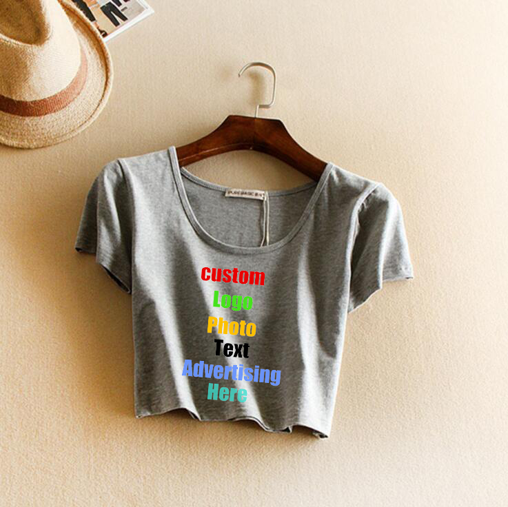 2018 Custom Logo Text Photo Print Summer Crop Top Women Cotton Tanks Sexy Solid Female Mujer Debardeur Femme Cropped Tops Vest